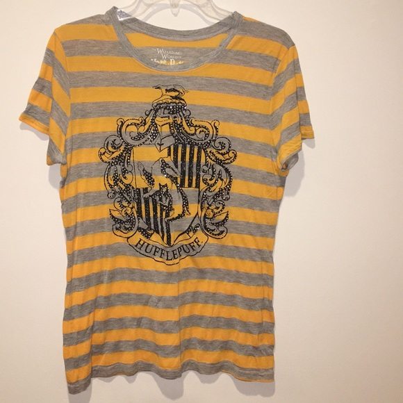 2dc4cef2efe51 Universal Studios Tops   The Sorting Hat Says Hufflepuff Striped Tee ...